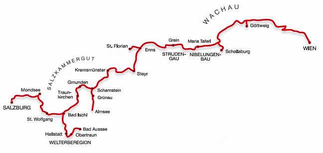 Mappa della Romantischste Strasse (Strada Romantica austriaca)
